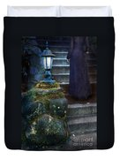 Woman In Dark Gown On Old Staircase Duvet Cover