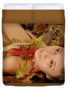 Woman In Fallen Leaves Duvet Cover