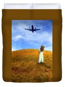 Woman In Field Looking Up At An Airplane Duvet Cover