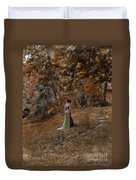 Woman In Green Gown  Duvet Cover