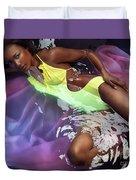 Woman In Swimsuit Lying In Water Duvet Cover