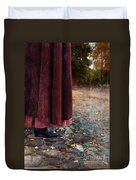 Woman In Vintage Clothing On Cobbled Street Duvet Cover