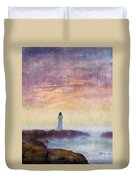 Woman In Vintage Dress At The Rocky Shore At Dawn Duvet Cover