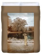 Woman In Vintage Dress With Parason By Lake Duvet Cover