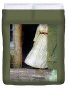 Woman In Vintage Victorian Era Dress In Doorway Duvet Cover