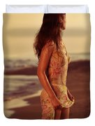 Woman In Wet Dress At The Beach Duvet Cover
