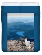 Woman In White Gown On Mountain Top Duvet Cover