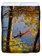 Woman Kayaking With Fall Foliage Duvet Cover