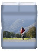 Woman On A Bicycle With Her Dog Duvet Cover