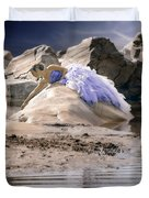Woman On A Rock Duvet Cover