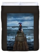 Woman On Dock In Storm Duvet Cover