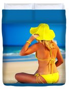 Woman On The Beach Duvet Cover
