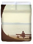 Woman On The Shore Of A Lake Duvet Cover