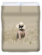 Woman On The Wheat Field Duvet Cover
