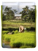 Woman Planting Rice Duvet Cover