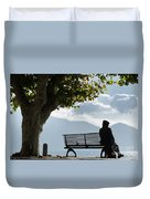 Woman Sitting On A Bench Duvet Cover