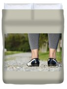 Woman Standing On A Stone Road Duvet Cover