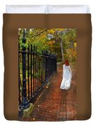 Woman Walking In Long White Gown Duvet Cover