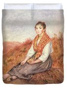 Woman With A Bundle Of Firewood Duvet Cover