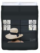 Woman With A Straw Hat Duvet Cover