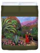 Woman With Child On A Donkey Duvet Cover