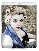 Woman With Curlers Duvet Cover