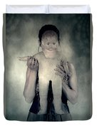 Woman With Doll Duvet Cover by Joana Kruse