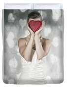 Woman With Heart Duvet Cover
