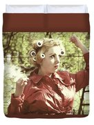 Woman With Rain Coat And Curlers Duvet Cover by Joana Kruse