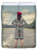 Woman With Red Rose Duvet Cover