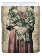 Woman With Shawl Duvet Cover