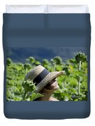 Woman With Straw Hat Duvet Cover