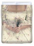 Woman With Wild Flowers Duvet Cover by Joana Kruse