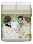 Women Admiring A Child Duvet Cover by Mary Stevenson Cassatt