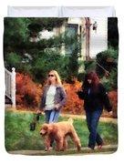 Women Walking A Dog Duvet Cover