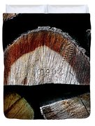 Wood. Piled Up Logs. Duvet Cover