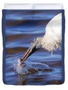 Wood Stork Fishing Duvet Cover