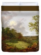 Wooded Landscape With A Cottage - Sheep And A Reclining Shepherd Duvet Cover