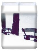 Wooden Benches In Snow Duvet Cover
