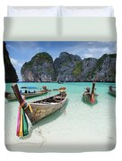 Wooden Boats In Maya Bay Duvet Cover
