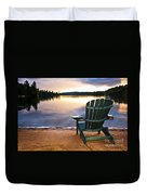 Wooden Chair At Sunset On Beach Duvet Cover