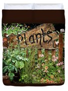 Wooden Plant Sign In Flowers Duvet Cover