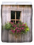 Wooden Shed With A Flower Box Under The Duvet Cover by Michael Interisano