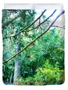 Woodland And Huge Tree Illustration Duvet Cover