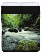 Woodland Stream And Rapids, Time Duvet Cover