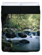 Woodland View Of A Small Creek Flowing Duvet Cover