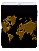 World Map Gold Duvet Cover