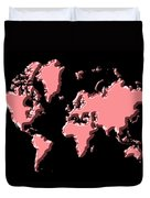 World Map Pink Duvet Cover
