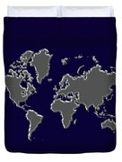 World Map Silver Duvet Cover