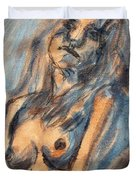 Worried Young Nude Female Teen Leaning And Filled With Angst In Orange And Blue Watercolor Acrylics Duvet Cover